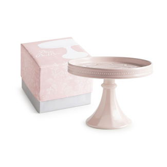Pink Small Rimmed Pedestal Cake Stand