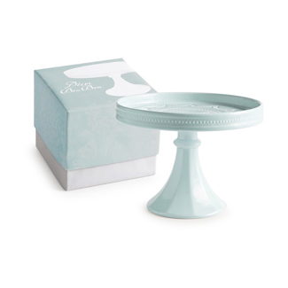 Blue Small Rimmed Pedestal Cake Stand