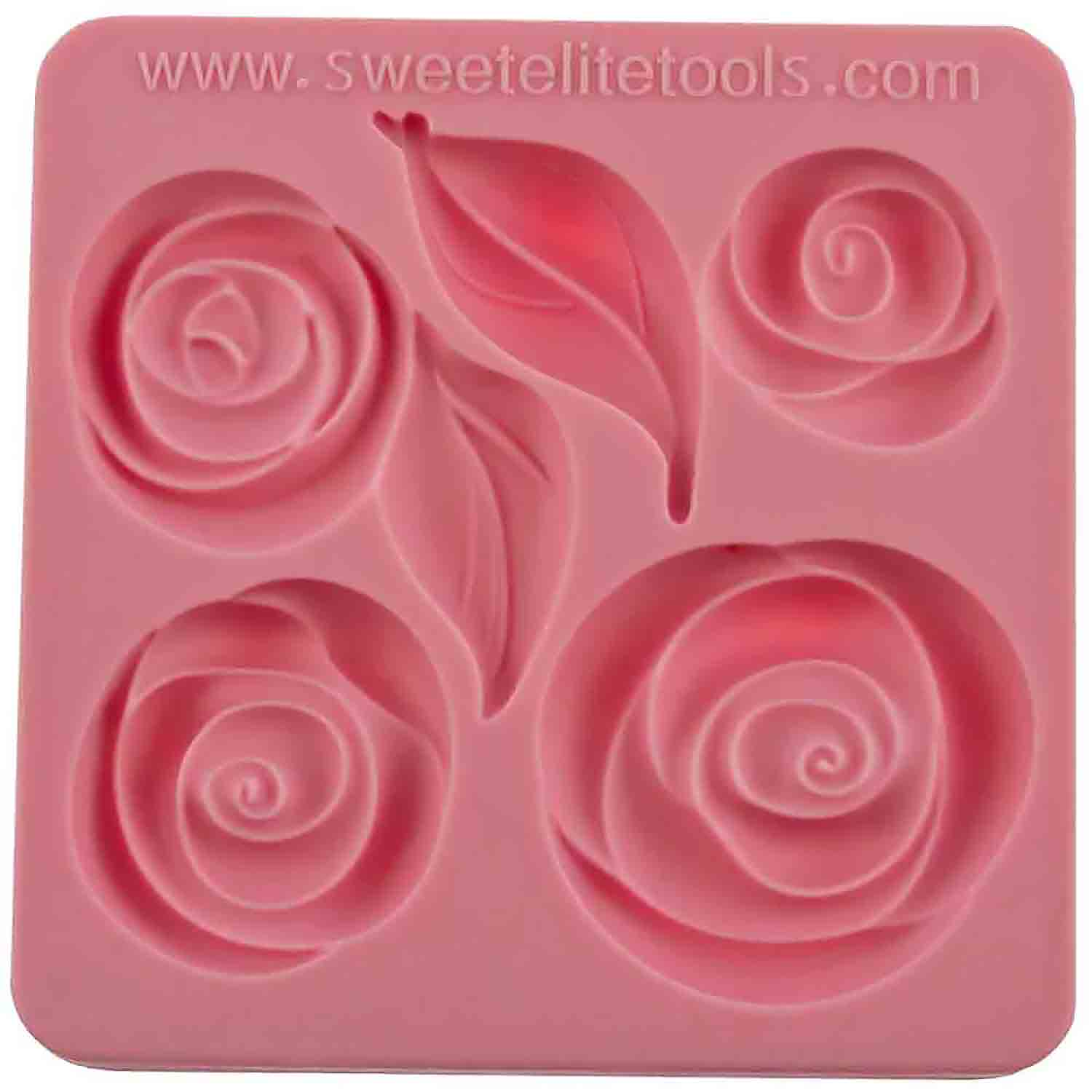 pouf roses and leaves silicone mold by colette peters sbs 6300cp country kitchen sweetart. Black Bedroom Furniture Sets. Home Design Ideas