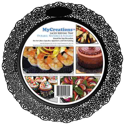 Laced Edge Plastic Serving Tray - Black