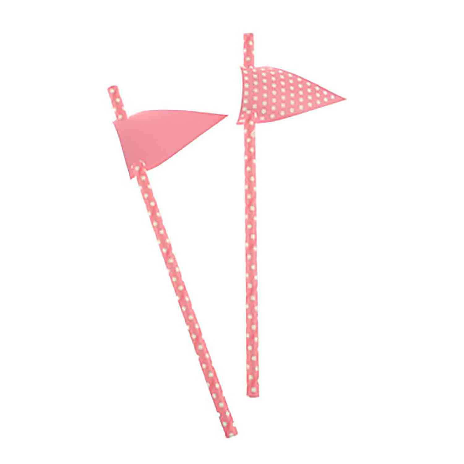 Pink with White Dots Paper Straws