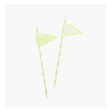 Light Green Stripes Paper Straws