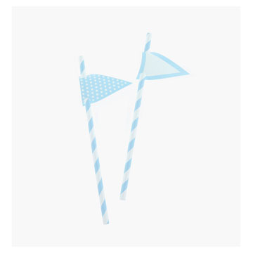 Light Blue Stripes Paper Straws