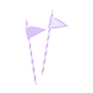 Light Purple Stripes Paper Straws