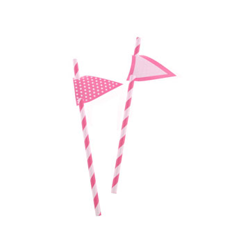 Hot Pink Stripes Paper Straws