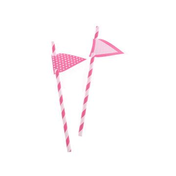 Hot Pink Stripes Paper Straws