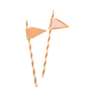Orange Stripes Paper Straws