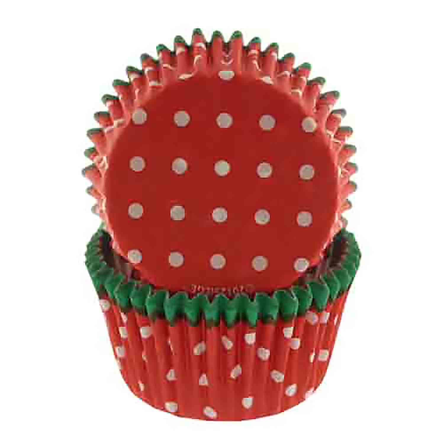 Green Trim, Red w/ White Dots Standard Baking Cups
