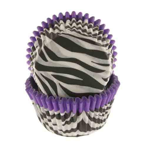 Purple Trim Zebra Standard Baking Cups