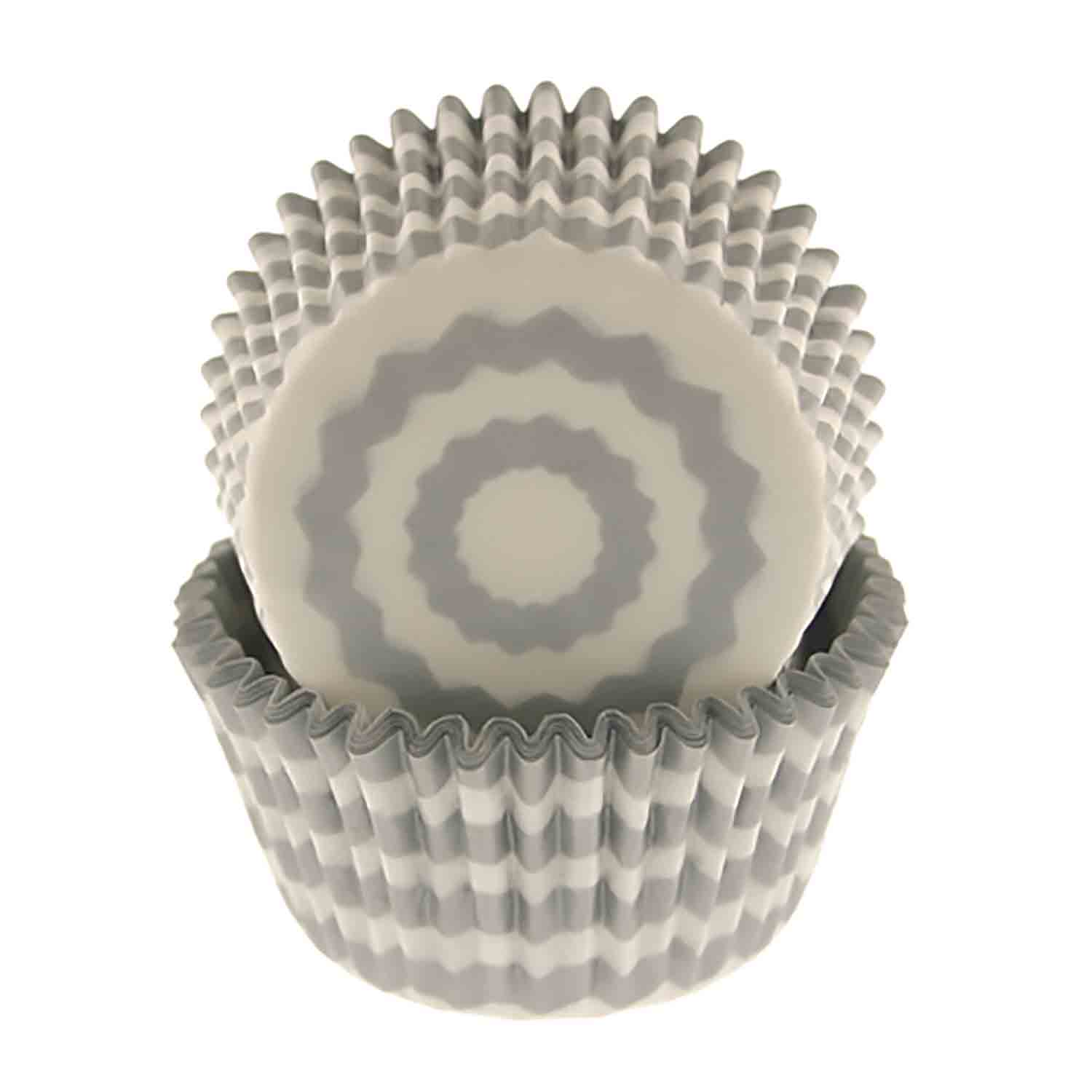 Silver Chevron Standard Baking Cups
