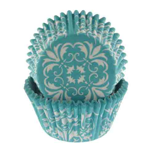 Country Kitchen Fort Wayne: Turquoise Damask Standard Baking Cups - SC-89982