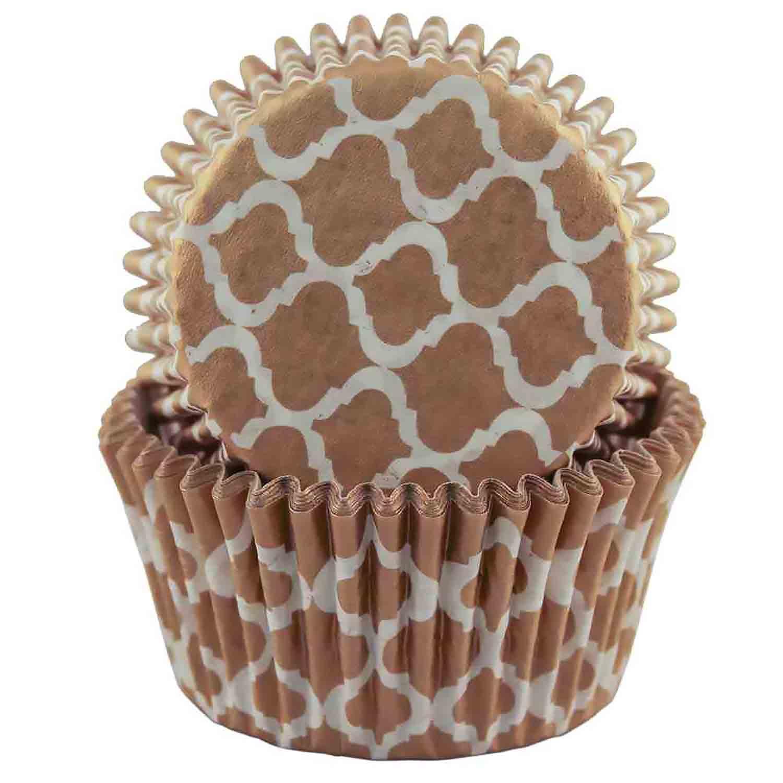 Gold Quatrefoil Standard Baking Cups