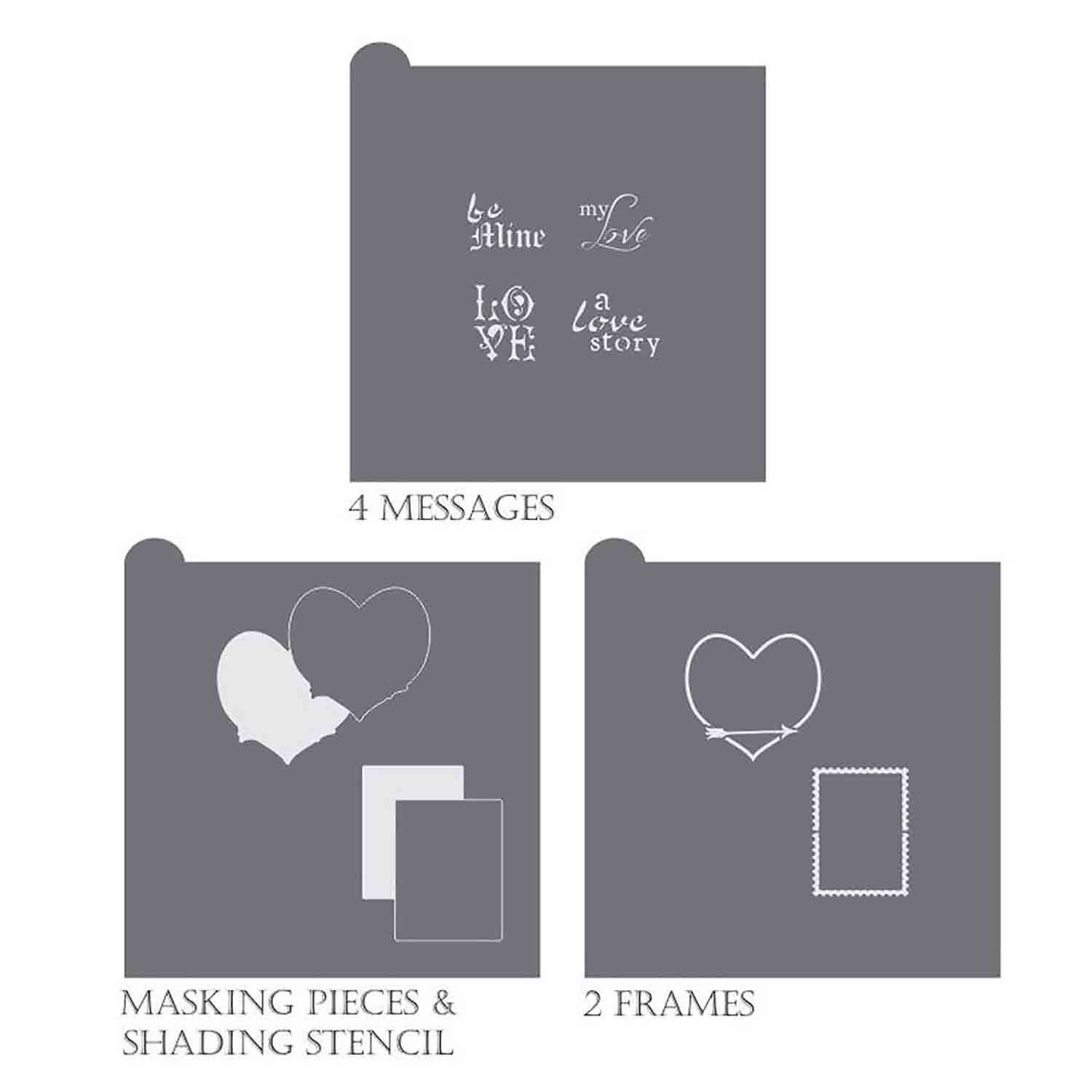 Love Letters Message and Frame Stencil Set