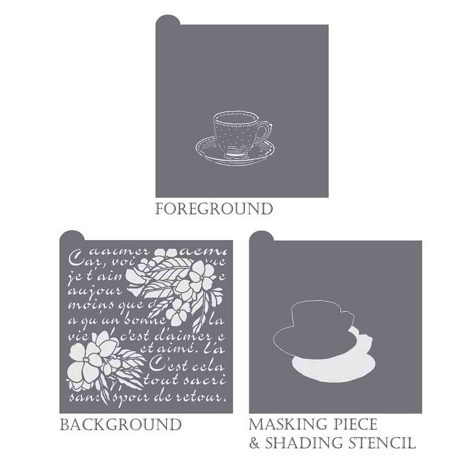 Vintage Tea Background Stencil Set by Julia Usher