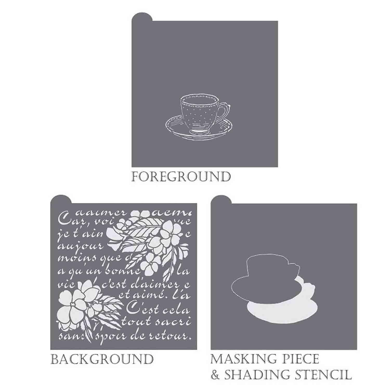 Vintage Tea Background Stencil Set