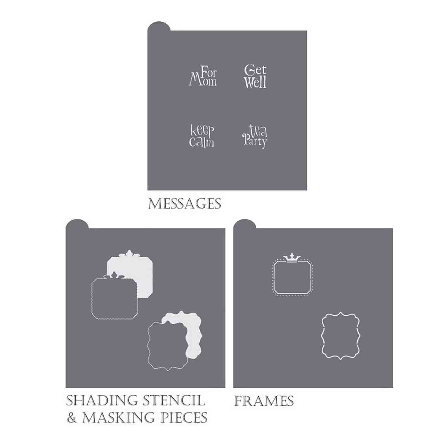 Vintage Tea Message and Frame Stencil Set by Julia Usher