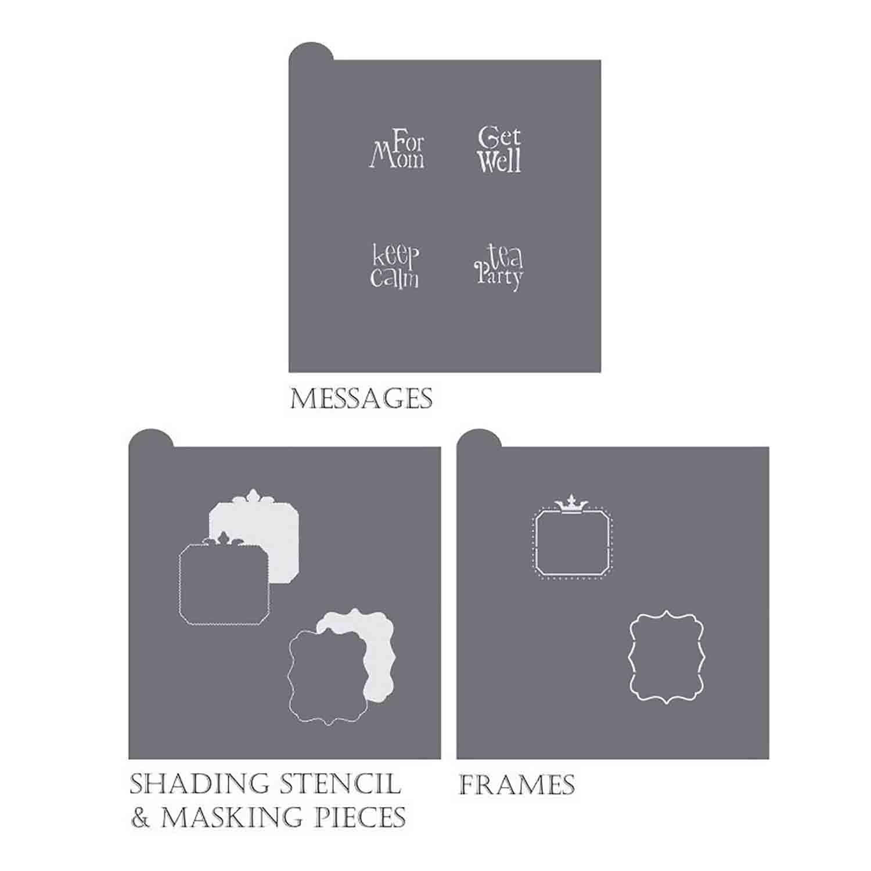 Vintage Tea Message and Frame Stencil Set