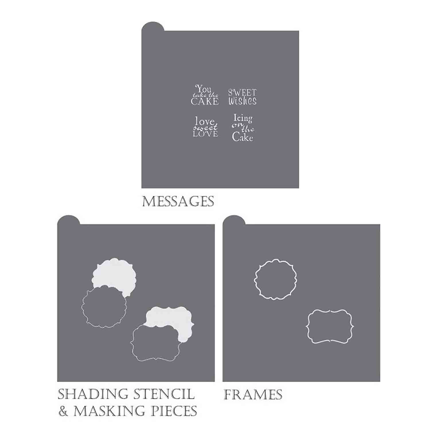 Take the Cake Message and Frame Stencil Set