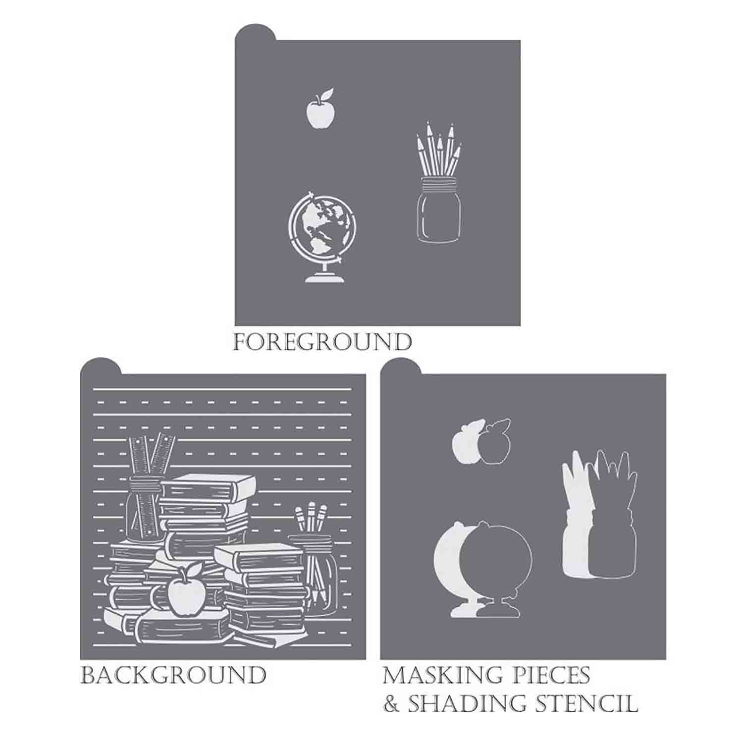 School Rules Background Stencil Set by Julia Usher