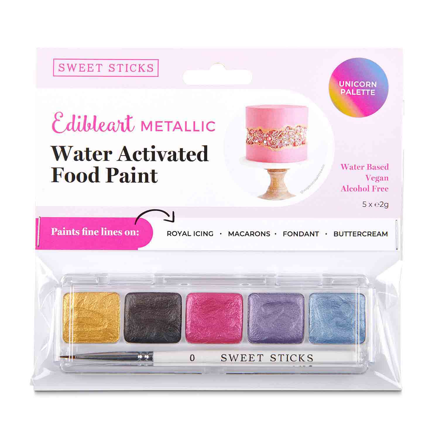 Unicorn Palette Metallic Water Activated Food Paint