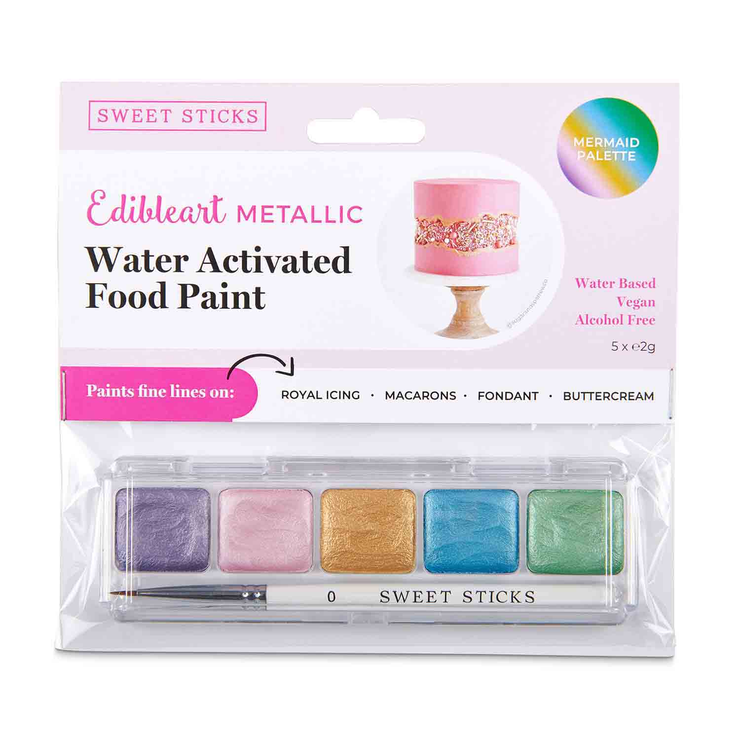 Mermaid Palette Metallic Water Activated Food Paint