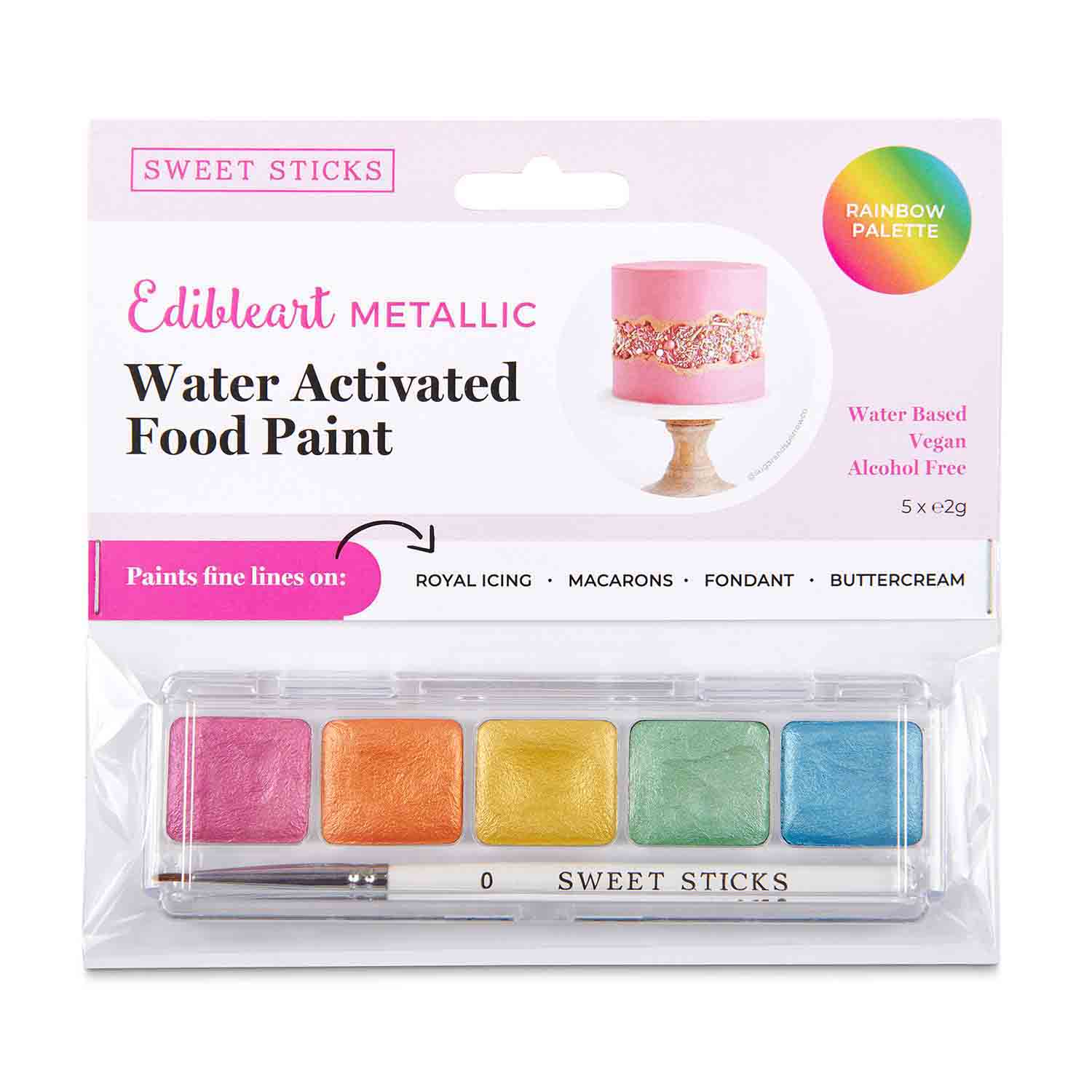 Rainbow Palette Metallic Water Activated Food Paint
