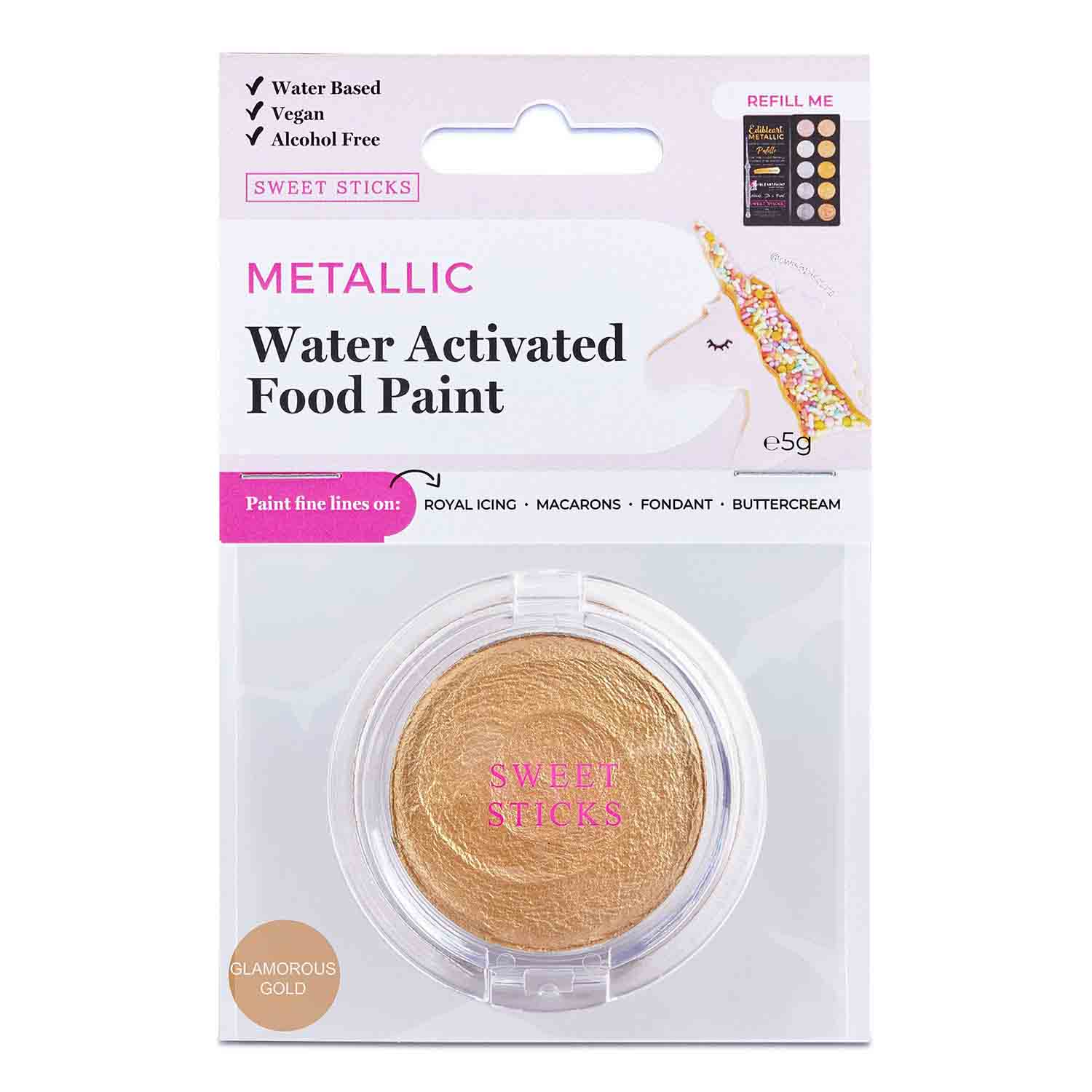 Glamorous Gold Water Activated Food Paint