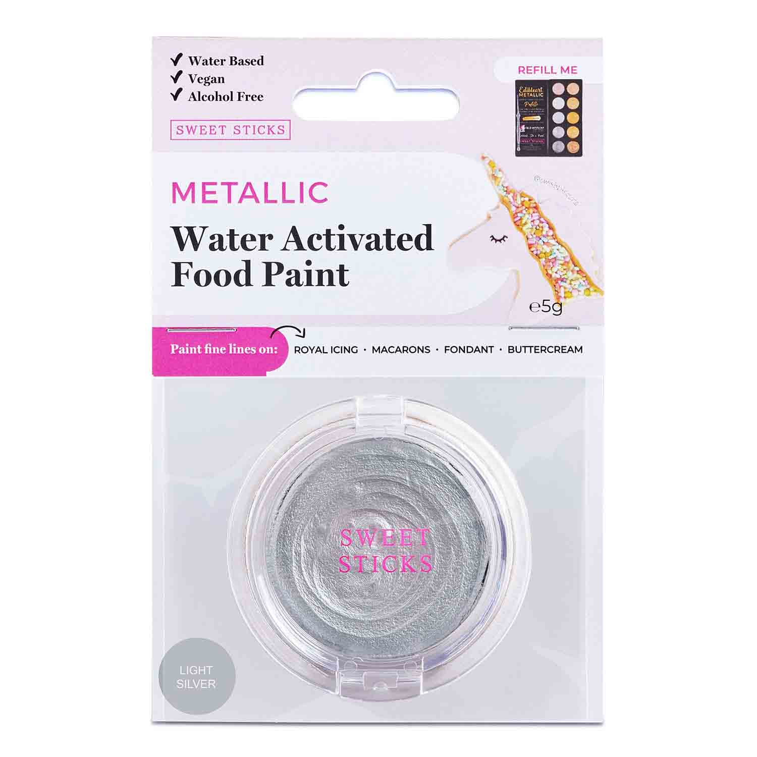 Light Silver Water Activated Food Paint