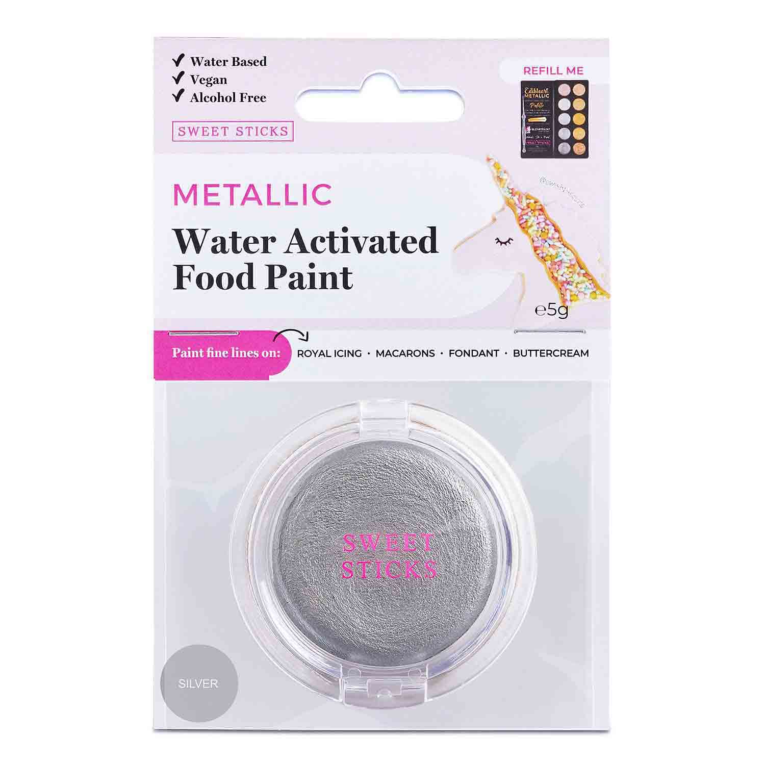 Silver Water Activated Food Paint