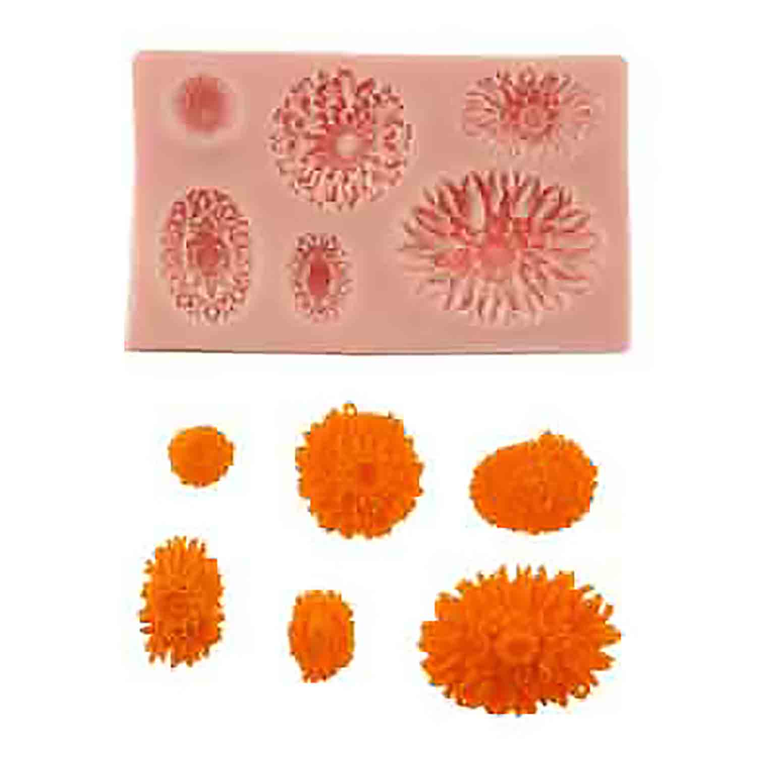 Assorted Mums Silicone Mold