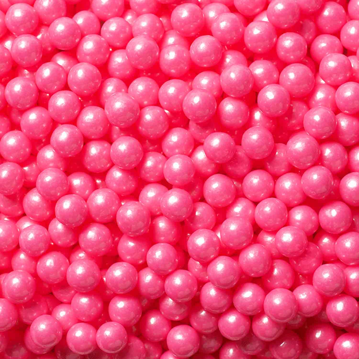 7mm Bright Pink Shimmer Pearls