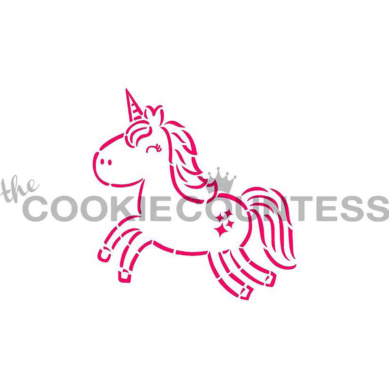 Cute Unicorn Cookie Stencil