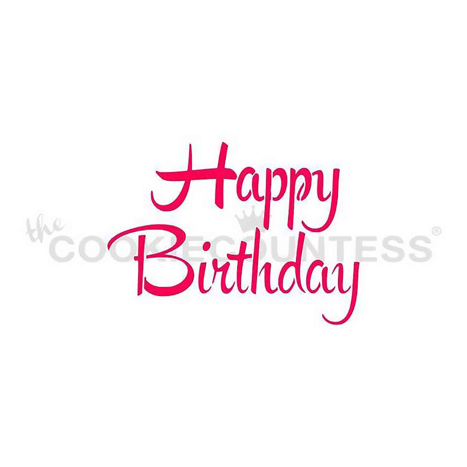 Happy Birthday Brush Script Stencil