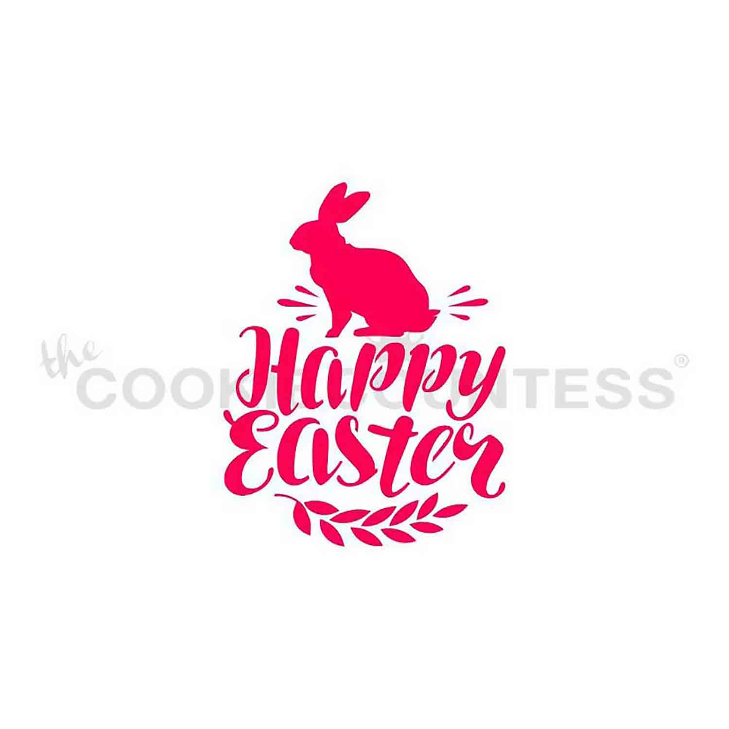 Happy Easter with Basket Stencil