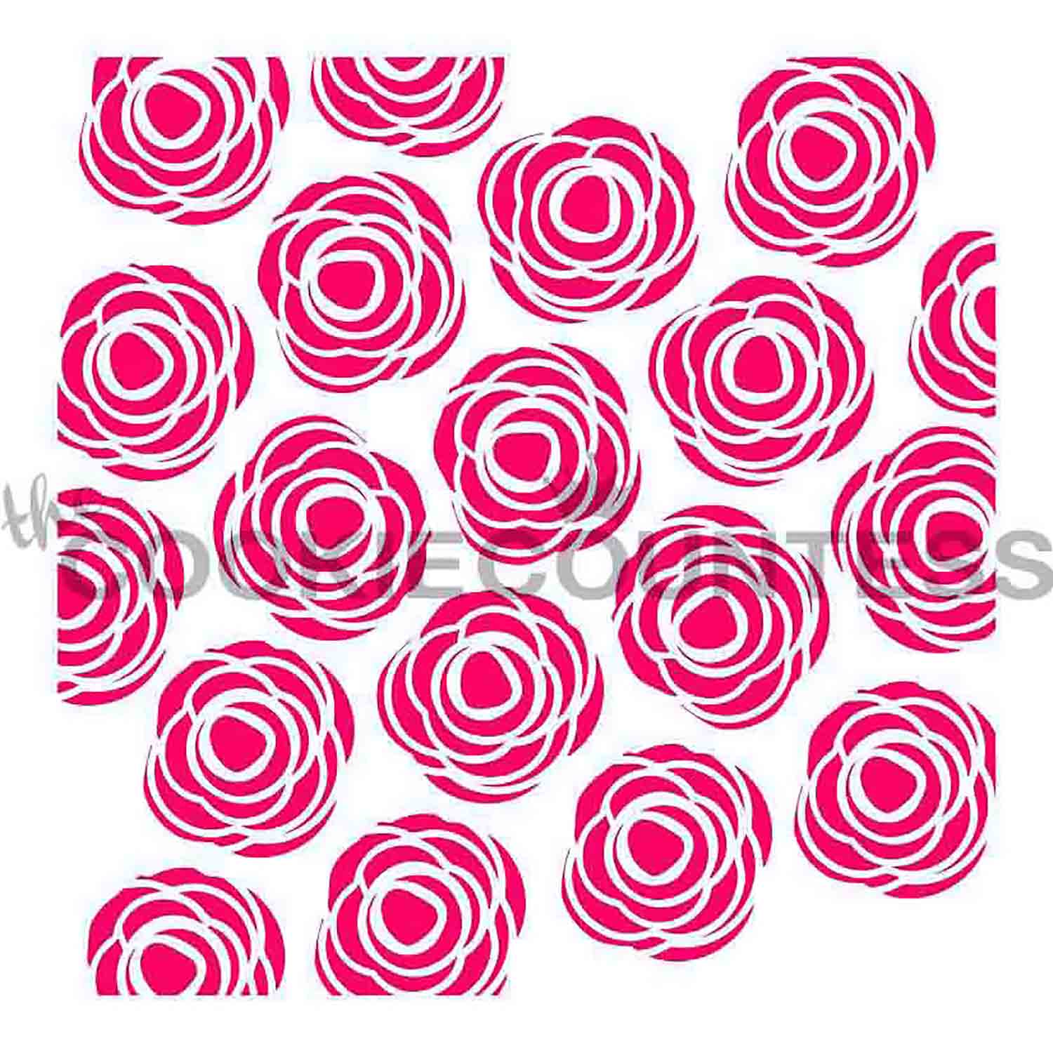 Scribble Roses Cookie Stencil