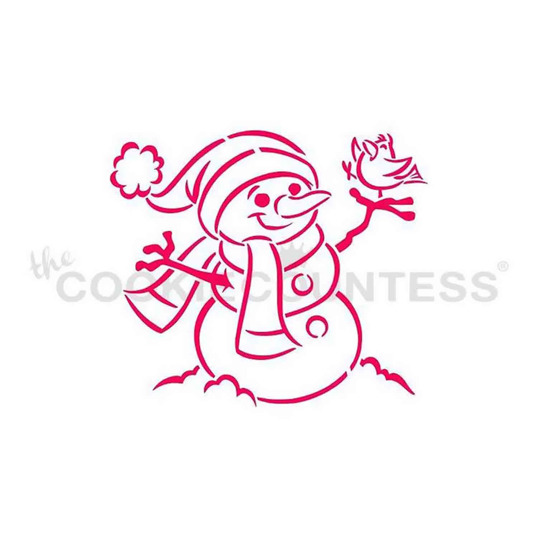Snowman with Bird Cookie Stencil