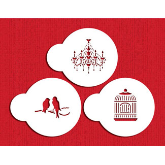 Mini Love Birds and Chandelier Designer Stencil