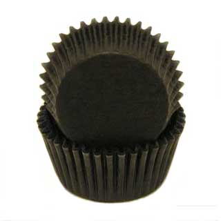 Solid Black Mini Baking Cups