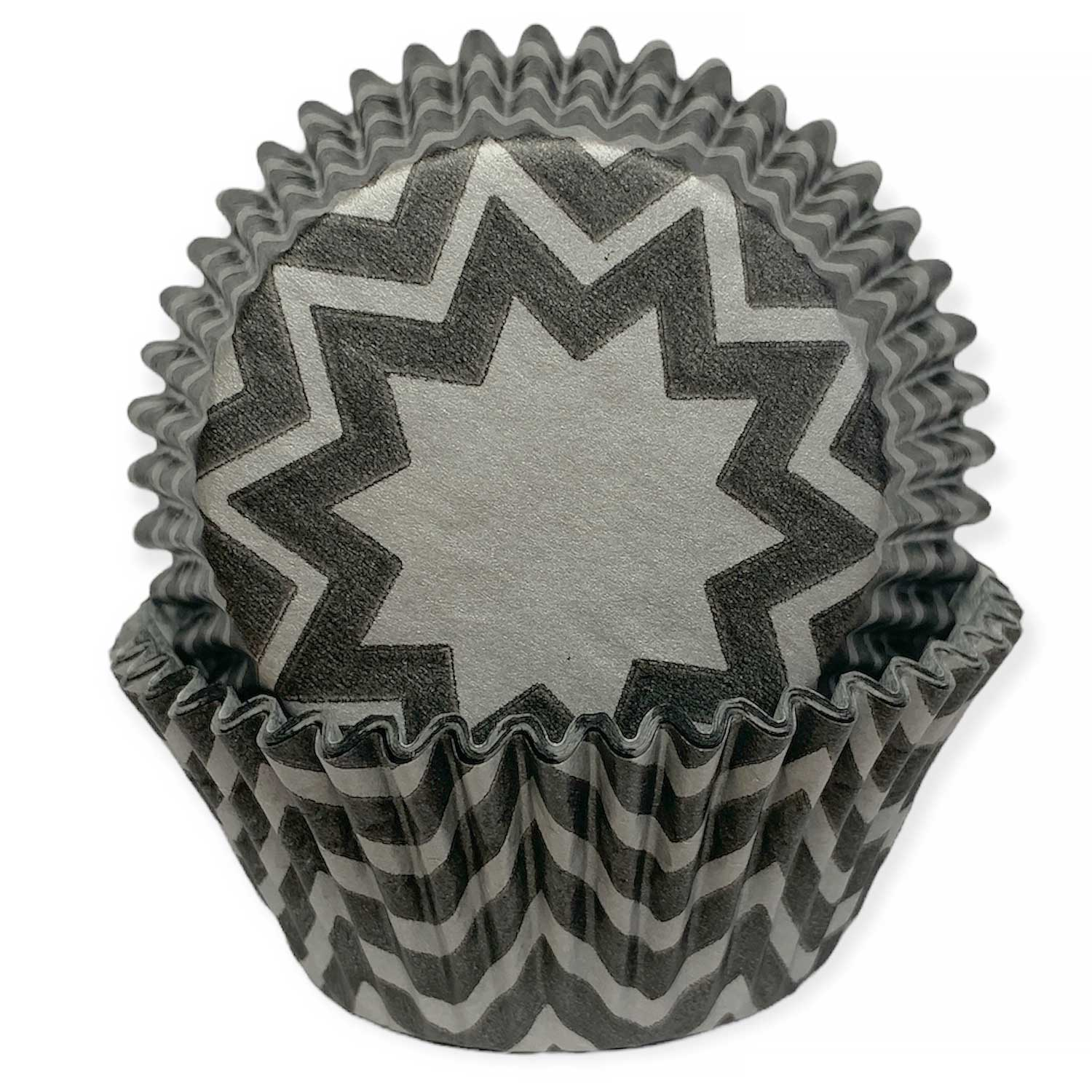 Silver and Black Chevron Standard Baking Cups