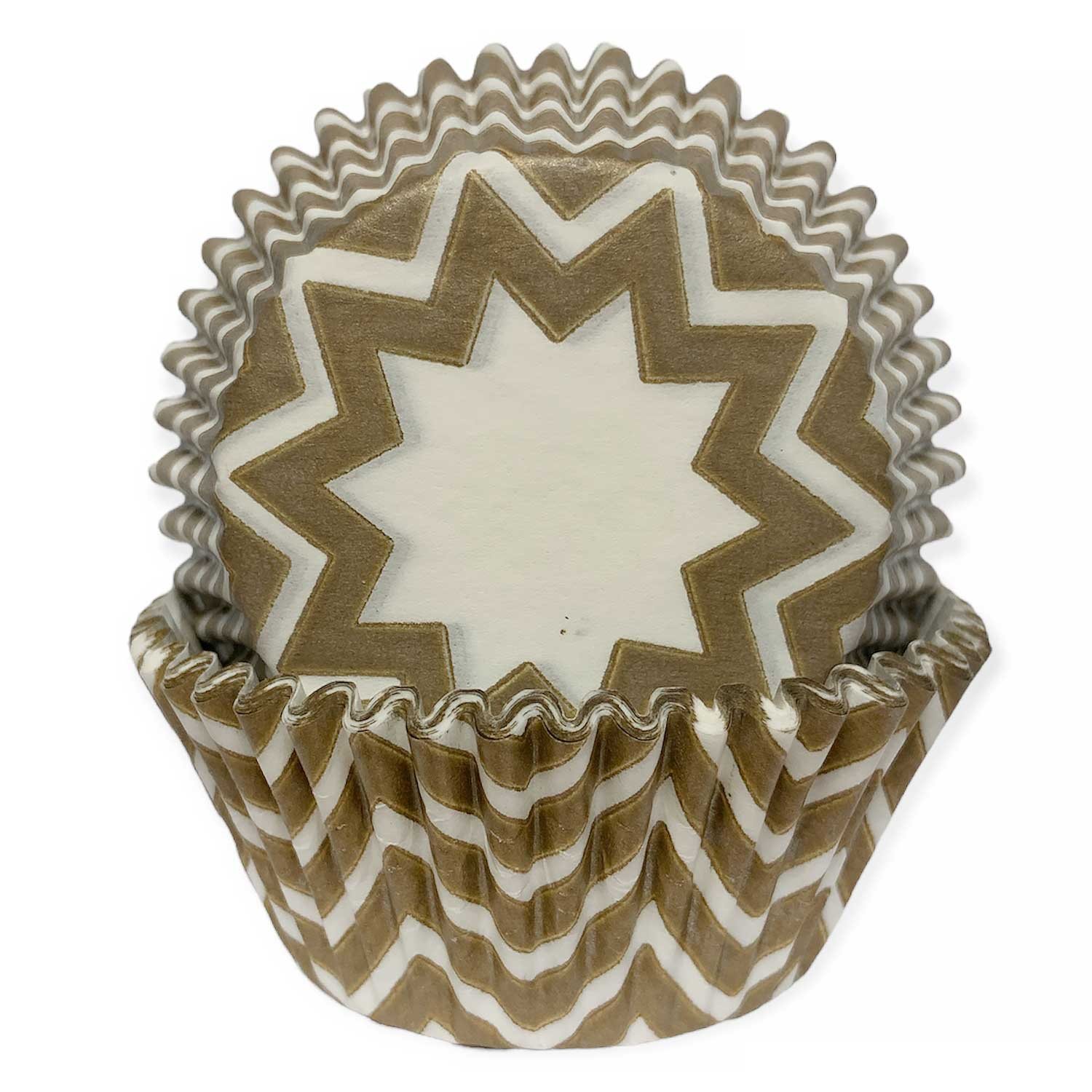 White and Gold Chevron Standard Baking Cups