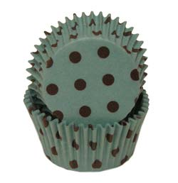 Aqua With Brown Dots Standard Baking Cups