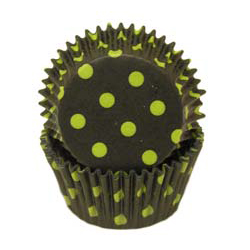 Black With Lime Dots Standard Baking Cups