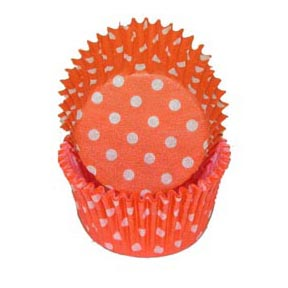 Orange Polka Dot Standard Baking Cups