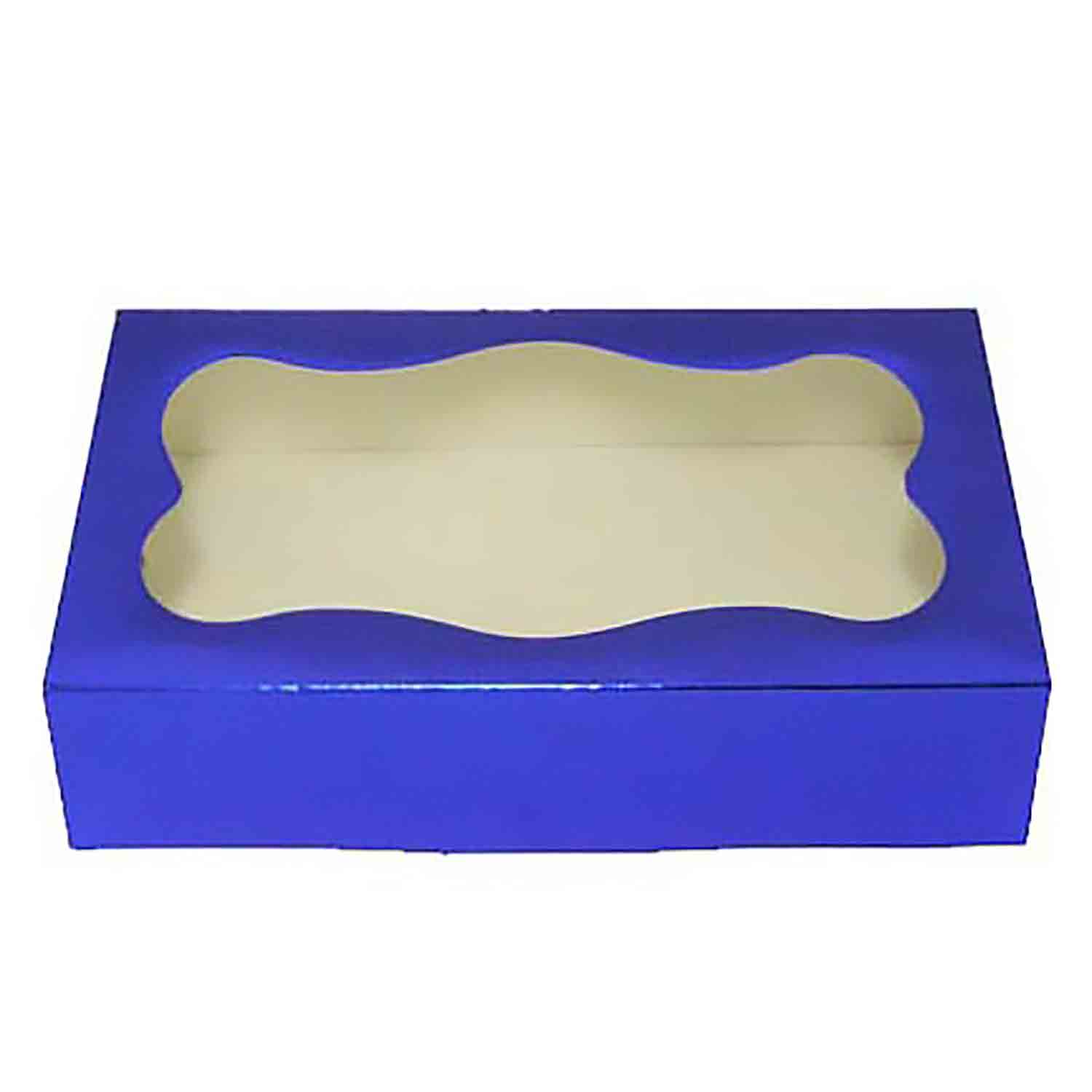 2 lb Blue Foil Cookie Box with Window