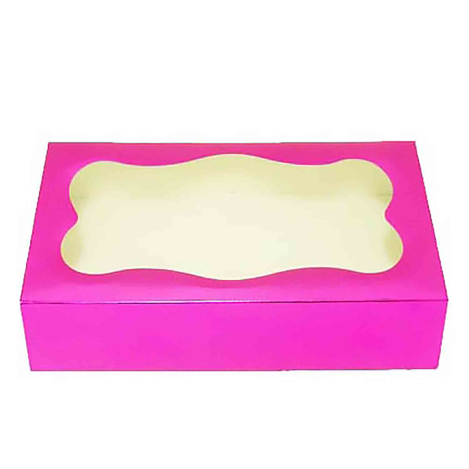 2 lb Magenta Foil Cookie Box with Window