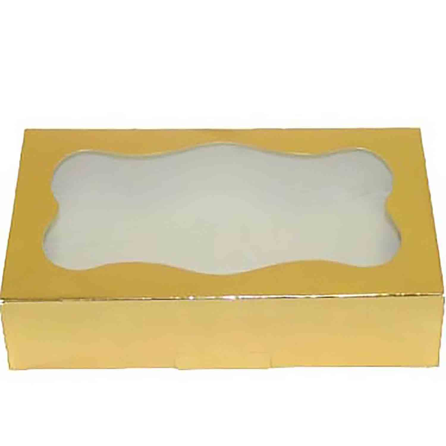2 lb. Gold Foil Cookie Box with Window