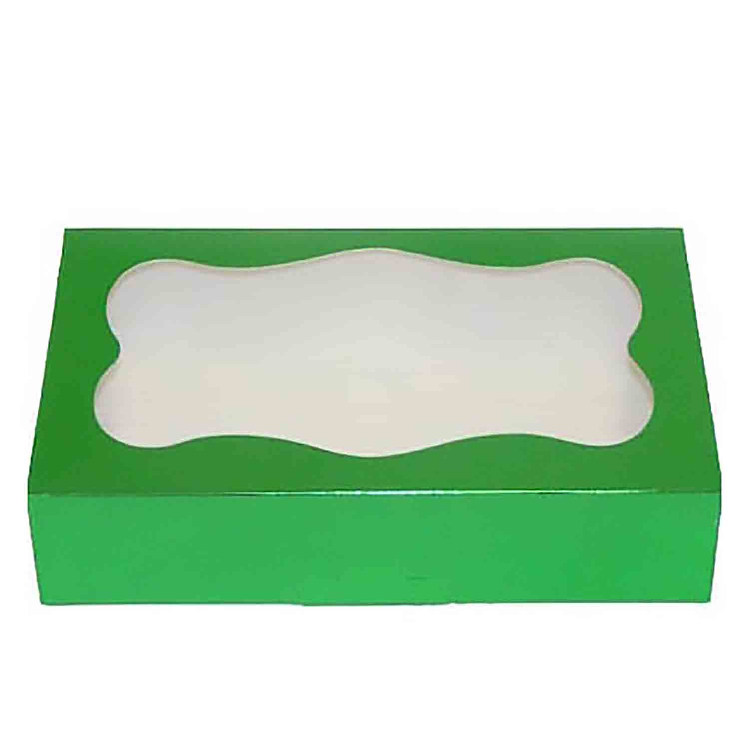 2 lb Green Foil Cookie Box with Window