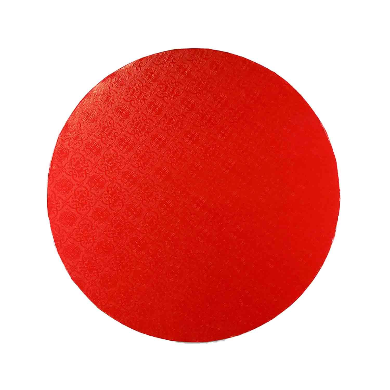 "14"" Round Red Foil Cake Drum"