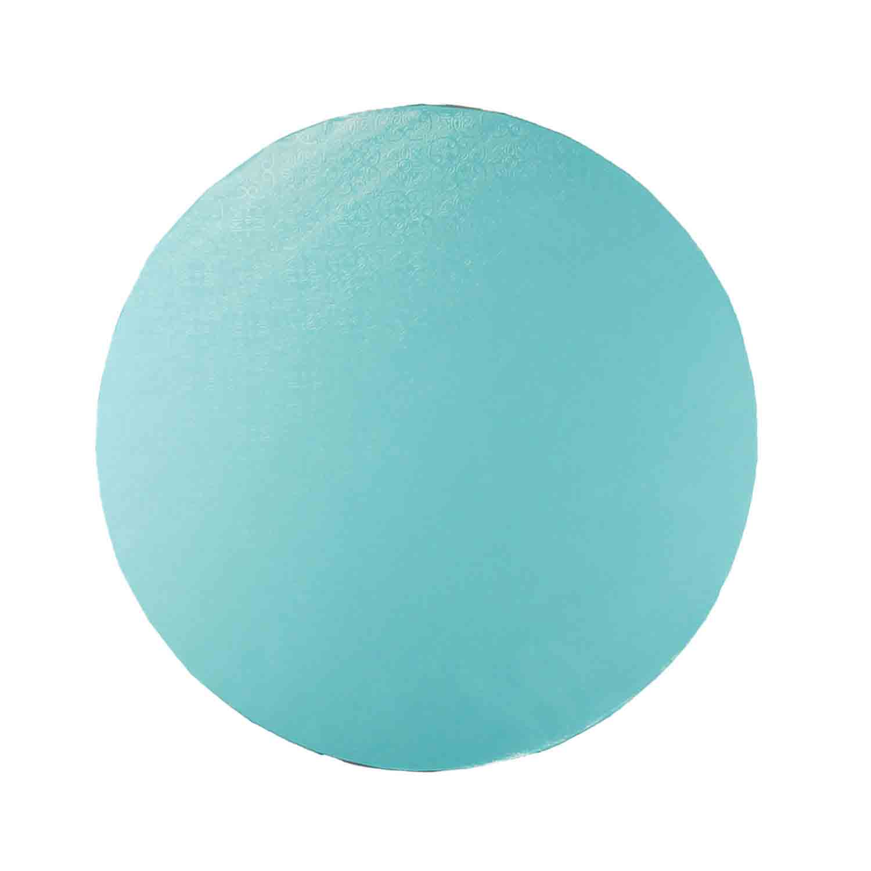 """14"""" Round Aqua Blue Foil Cake Drum"""