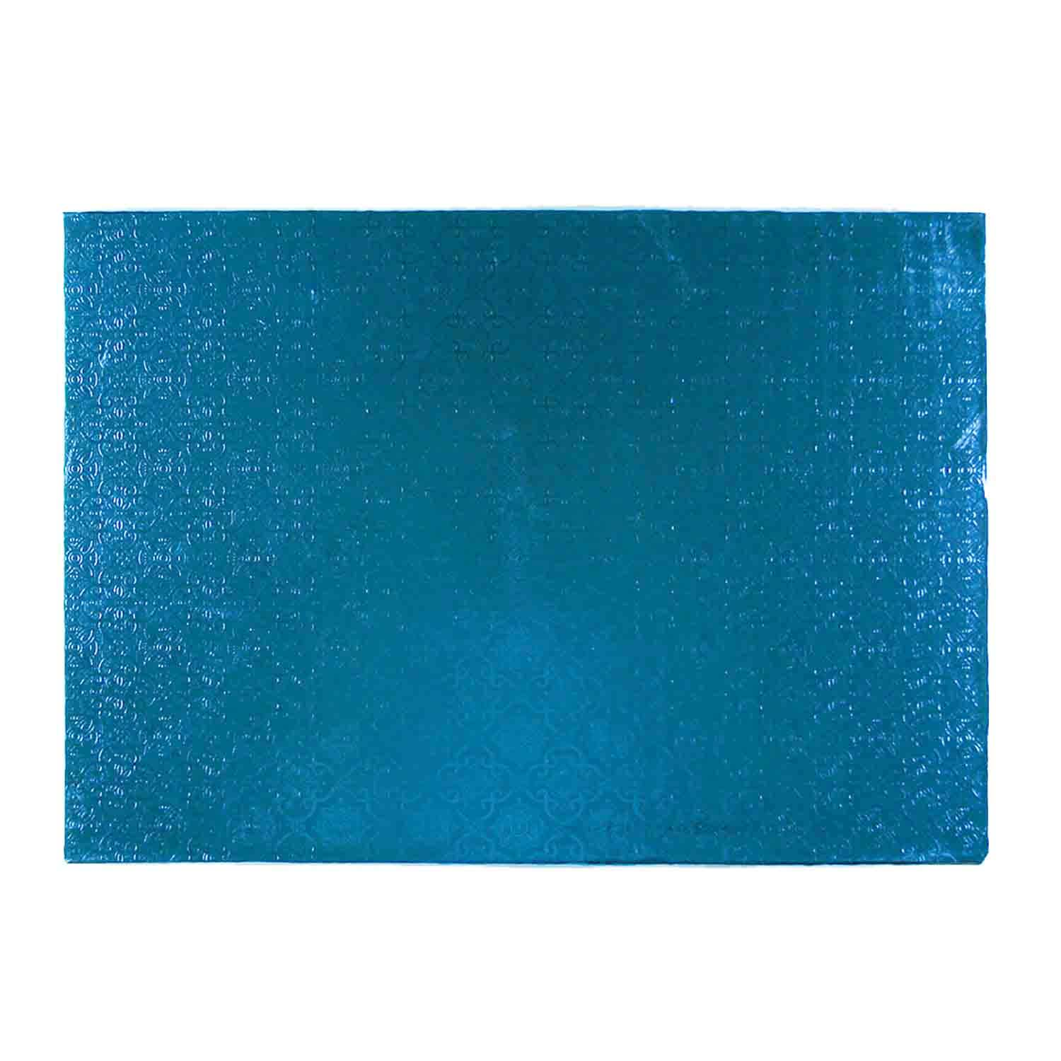 "10"" x 14"" Rectangle Blue Foil Quarter Sheet Cake Drum"